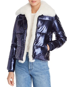 Vigoss - Faux Fur-Trim Metallic Puffer Jacket