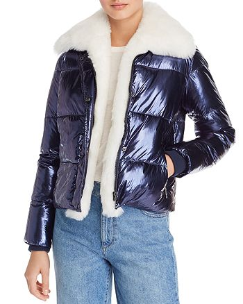 40e013b766c Vigoss - Faux Fur-Trim Metallic Puffer Jacket