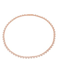 Crislu - Pavé Tennis Necklace in 18K Gold-Plated Sterling Silver, 18K Rose Gold-Plated Sterling Silver or Platinum-Plated Sterling Silver, 16""