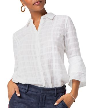 Liverpool Textured Bell-Sleeve Blouse