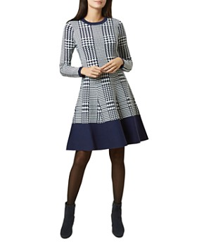 HOBBS LONDON - Callie Houndstooth Fit-and-Flare Dress