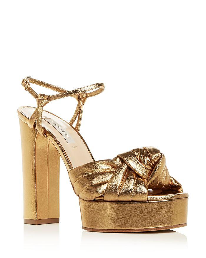 Casadei Women's High Block-Heel Platform Sandals In Bronzo
