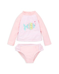 Little Me - Girls' Fish Long Sleeve Tee & Swim Bottom Rash Guard Set