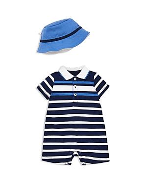 Little Me Boys SailStriped Romper  Sun Hat Set  Baby