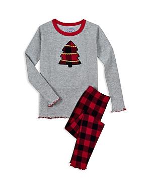Saras Prints Girls Plaid Christmas Tree Pajama Shirt  Pants Set  Little Kid