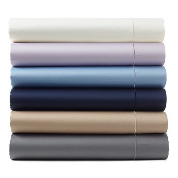 Hudson Park Collection - 500TC Sateen Wrinkle-Resistant Queen Flat Sheet - 100% Exclusive