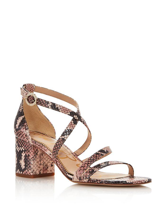 Sam Edelman - Women's Stacie Embossed-Leather Block-Heel Sandals - 100% Exclusive