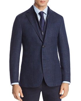 Corneliani - Mélange Chevron Jersey Regular Fit Sport Coat with Zip-Out Bib