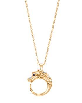 637ab28bfa0 JOHN HARDY - 18K Yellow Gold Legends Naga Pendant Necklace with Diamond Pavé    Blue Sapphire