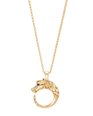 John Hardy 18K Yellow Gold Legends Naga Pendant Necklace with Diamond Pave & Blue Sapphire, 18
