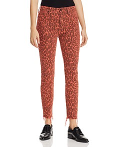 MOTHER - Looker High-Rise Leopard Ankle Fray Skinny Jeans in Animal Attraction