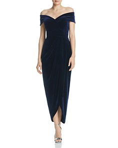 AQUA - Off-the-Shoulder Velvet Gown - 100% Exclusive