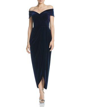 AQUA Off-The-Shoulder Velvet Gown - 100% Exclusive in Navy
