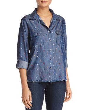 BILLY T Heart Print Button-Down Chambray Shirt in Blue Multi