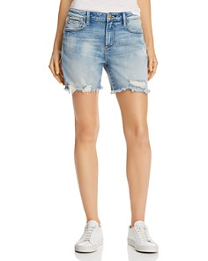 AQUA - High-Rise Distressed Denim Shorts in Light Wash - 100% Exclusive