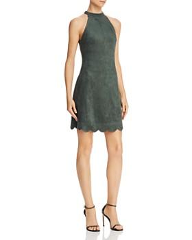 AQUA - Scalloped Faux Suede A-Line Dress - 100% Exclusive