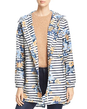 Joules - GoLightly Packable Striped Floral Print Raincoat