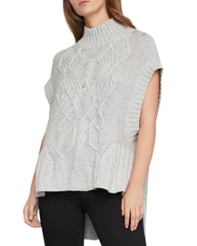 BCBGMAXAZRIA - High/Low Cable-Knit Sweater