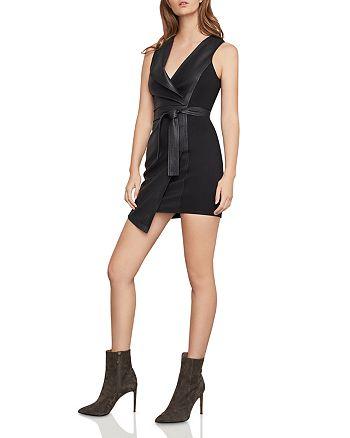 BCBGMAXAZRIA - Layla Faux Leather & Ponte Sheath Dress