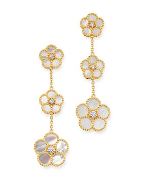 Roberto Coin - 18K Yellow Gold Daisy Mother-of-Pearl & Diamond Drop Earrings - 100% Exclusive