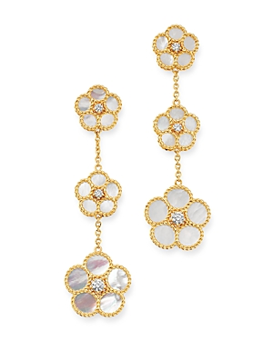 Roberto Coin 18K Yellow Gold Daisy Mother-of-Pearl & Diamond Drop Earrings - 100% Exclusive