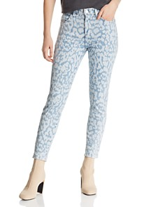 Current/Elliott - The Stiletto High-Rise Cropped Skinny Jeans in Inky Leopard