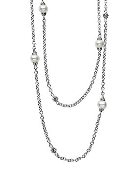 """LAGOS - Sterling Silver Luna Cultured Freshwater Pearl and Caviar Ball Station Necklace, 34"""""""