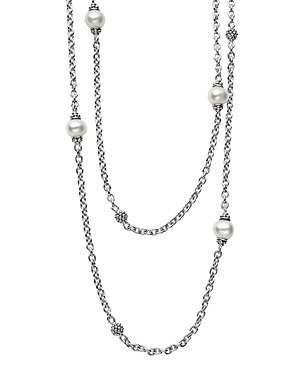 Lagos Sterling Silver Luna Cultured Freshwater Pearl and Caviar Ball Station Necklace, 34-Jewelry & Accessories