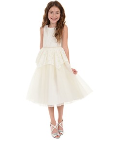 Badgley Mischka - Girls' Jeweled Lace Peplum Dress - Little Kid