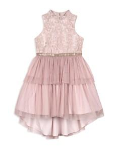 Badgley Mischka - Girls' High/Low Tiered Dress - Big Kid