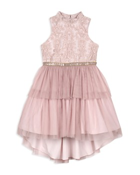 Badgley Mischka - Girls' High/Low Tiered Dress - Big Kid