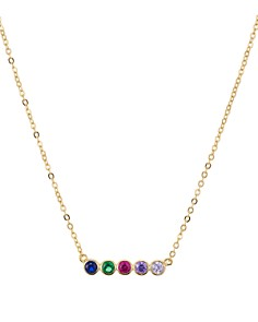 """AQUA - Rainbow Bar Pendant Necklace in 14K Gold-Plated Sterling Silver, 15"""" - 100% Exclusive"""