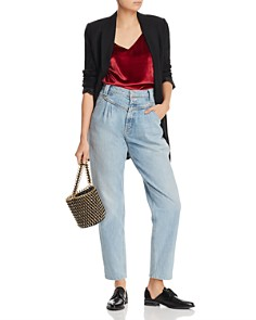 MOTHER - The Pleated Popular Peg Straight-Leg Jeans in Thanks Again