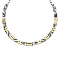 LAGOS - 18K Yellow Gold & Sterling Silver High Bar Collar Necklace, 16""