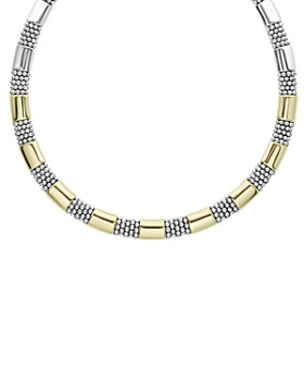 LAGOS - 18K Yellow Gold & Sterling Silver High Bar Collar Necklace, 16-18""