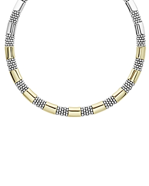 Lagos Accessories 18K YELLOW GOLD & STERLING SILVER HIGH BAR COLLAR NECKLACE, 16