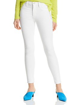 Hudson - Barbara High-Rise Ankle Skinny Lace-Up Jeans in White