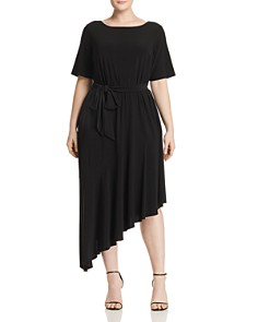 Adrianna Papell Plus - Jersey Asymmetric Belted Dress