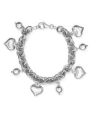 Aqua Sterling Heart & Ball Charm Bracelet in Sterling Silver - 100% Exclusive