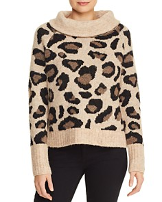 AQUA - Leopard Cowl-Neck Sweater - 100% Exclusive