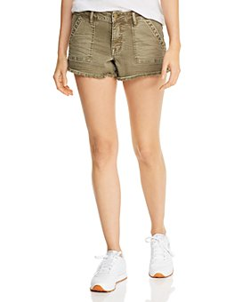 AQUA - Frayed Denim Cargo Shorts in Olive - 100% Exclusive