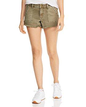 AQUA - Frayed Denim Cargo Shorts in Olive - 100% Exclusive