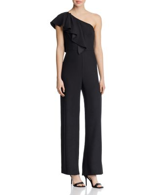 One Shoulder Crepe Jumpsuit   100 Percents Exclusive by Aidan By Aidan Mattox