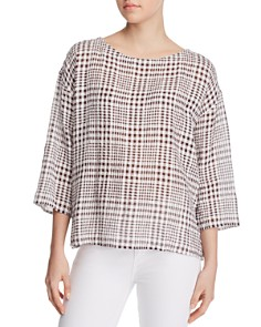 Eileen Fisher - Plaid Gauze Boxy Top - 100% Exclusive