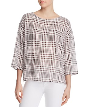 Eileen Fisher Petites - Puckered Plaid Box Top - 100% Exclusive