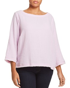 Eileen Fisher Plus - Gauze Fringe Trim Top