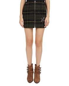 The Kooples - Embellished Fleur-de-Lis Plaid Mini Skirt