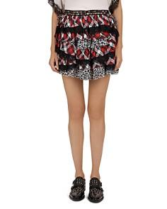 The Kooples - Studded Tiered Mixed-Media Mini Skirt