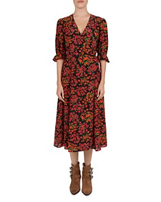 The Kooples - Camelia Floral-Print Silk Midi Wrap Dress