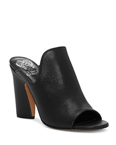 VINCE CAMUTO - Women's Gerrty Peep Toe High-Heel Leather Mules